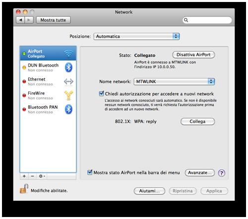 Connessione VPN PPTP Mac OS X