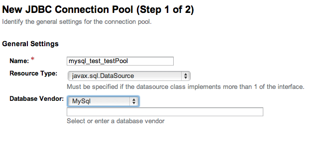 Impostazione connection pool: step 1