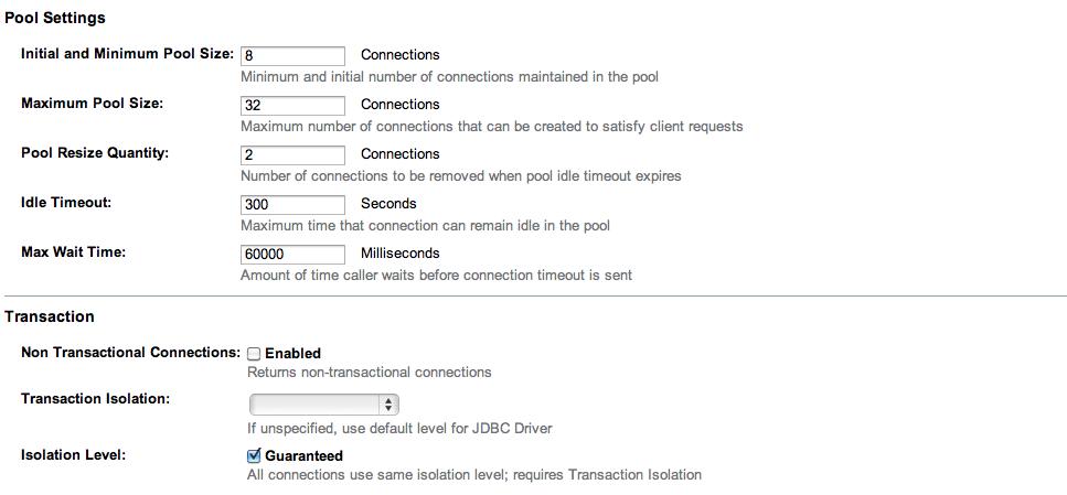 Impostazioni connection pool: step 2