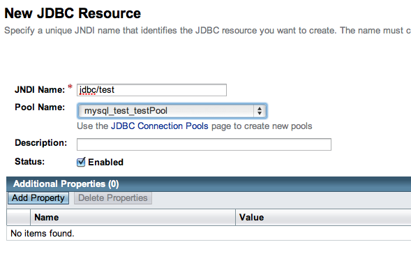 Creazione della risorsa jdbc