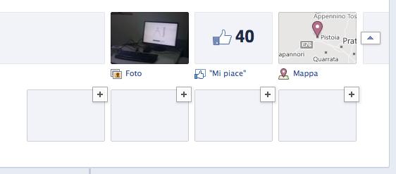 Schermata pagina di facebook bottoni