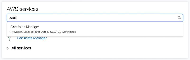 AWS Certificati SSL gratuiti | Selezione dello strumento Certificate Manager