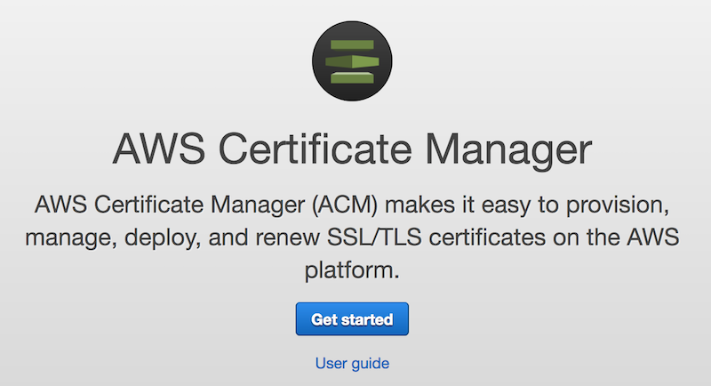 AWS Certificati SSL gratuiti | Inizio procedura Certificate Manager