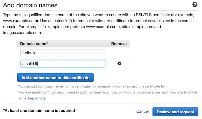 AWS Certificati SSL gratuiti | Selezione domini da validare
