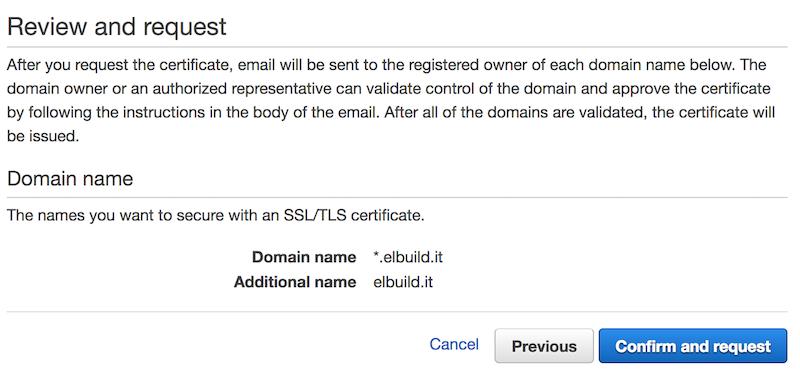 AWS Certificati SSL gratuiti | Conferma domini da validare