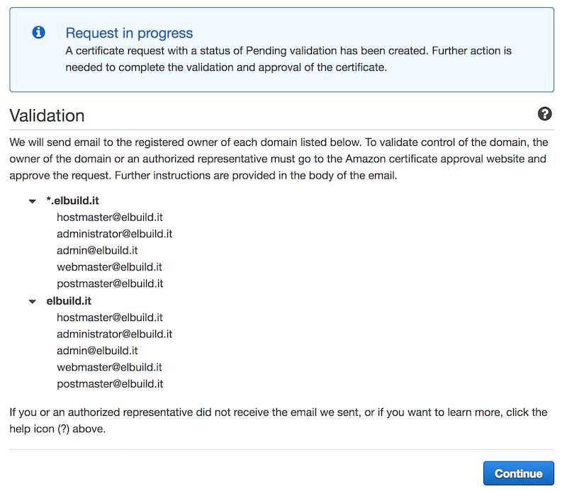 AWS Certificati SSL gratuiti | Invio email validazione dominio