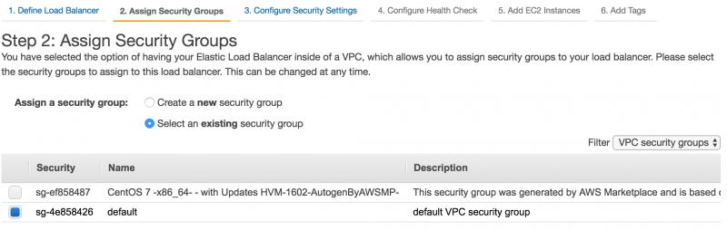 Creazione load balancer AWS | Selezione security group