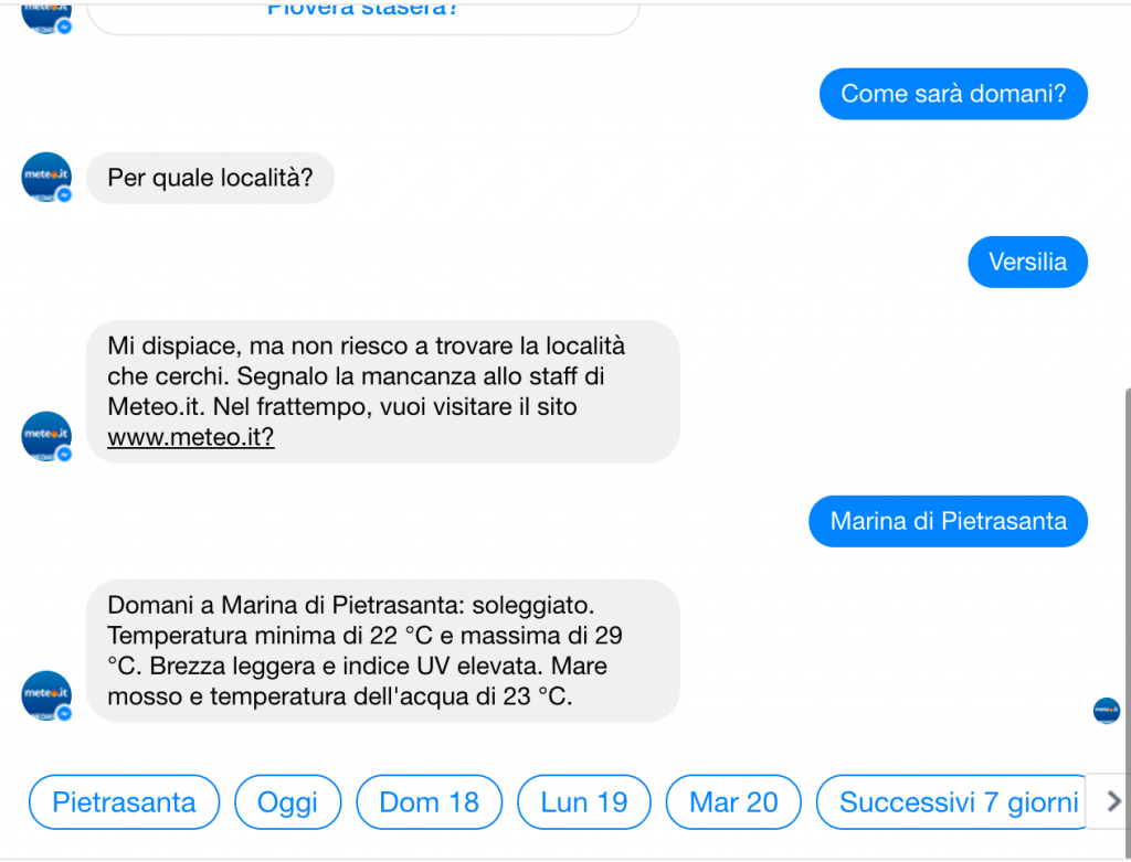 chatbot meteo.it risposta domanda