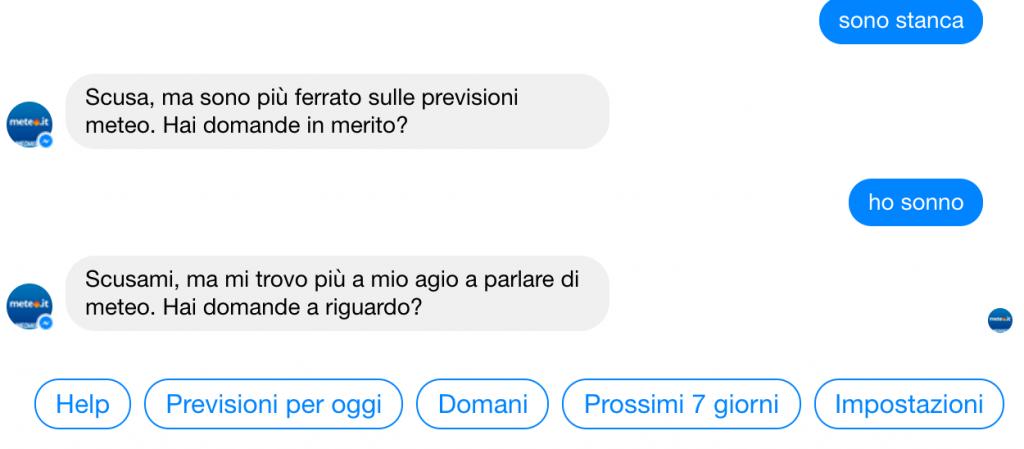 chatbot meteo.it mancata comprensione domanda