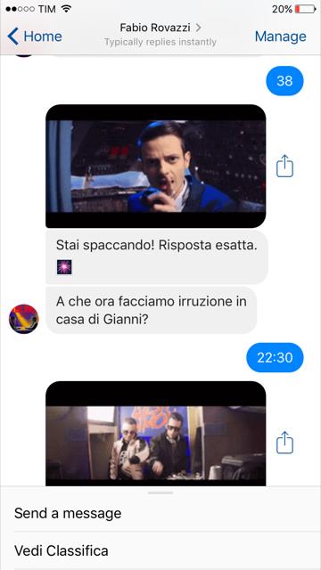 Chatbot Rovazzi prima domanda