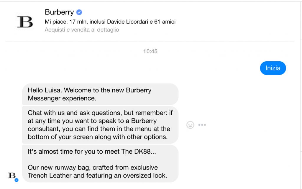 Schermata inizio interazione chatbot burberry