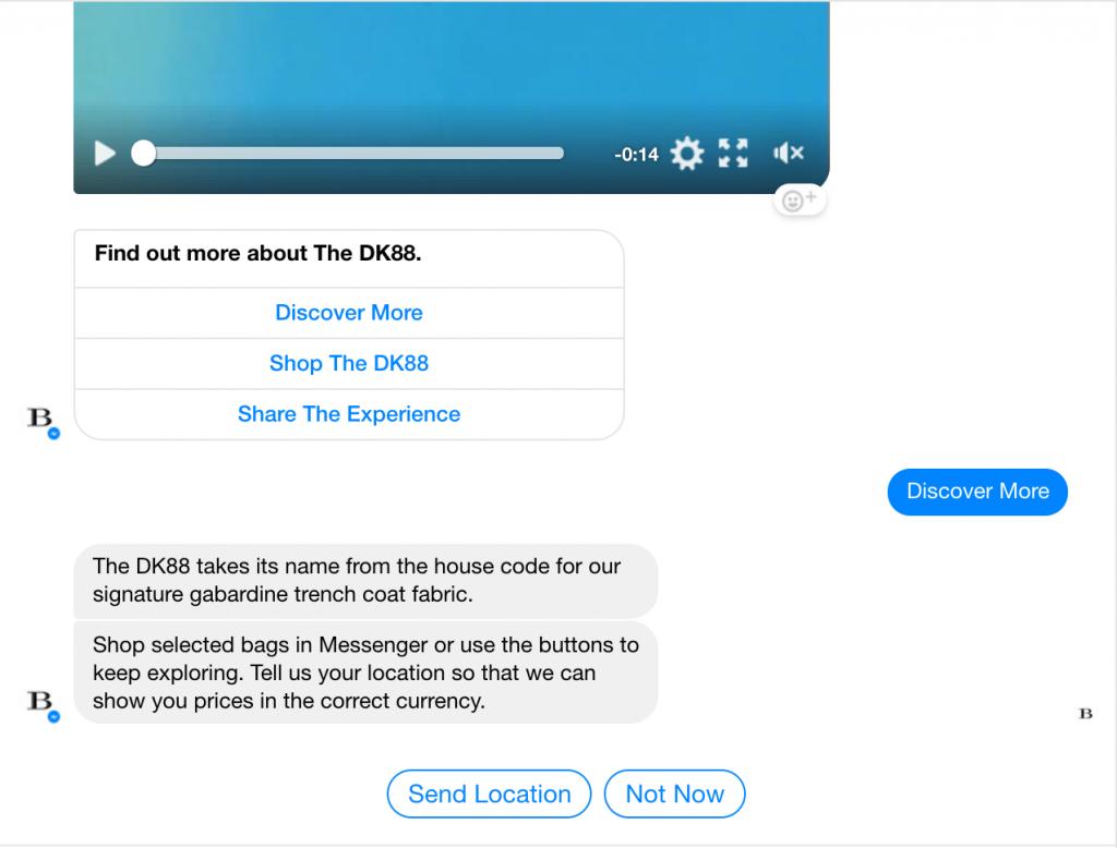 Chatbot Burberry risposta più informazioni