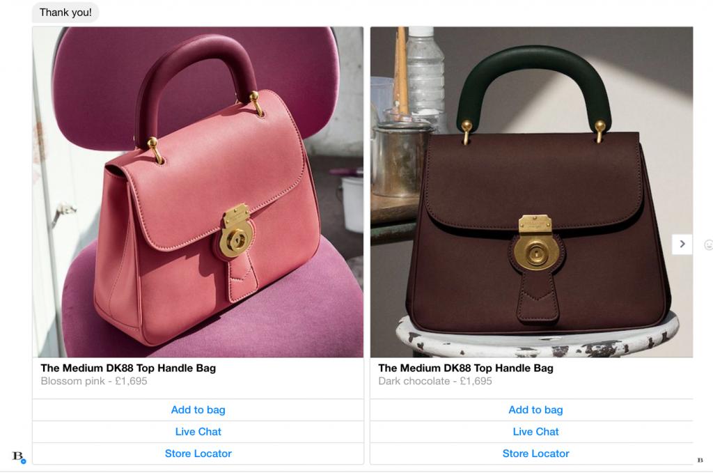 Proposta prodotto in varianti di colore dal chatbot burberry