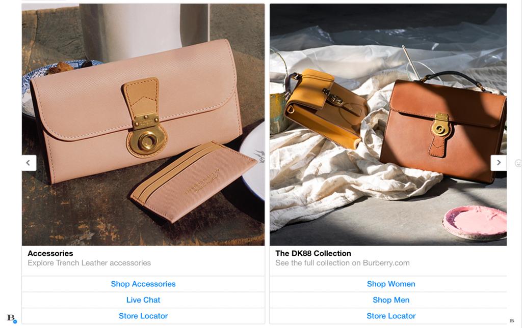 Accessori e collezione collegati al prodotto mostrato dal chatbot burberry