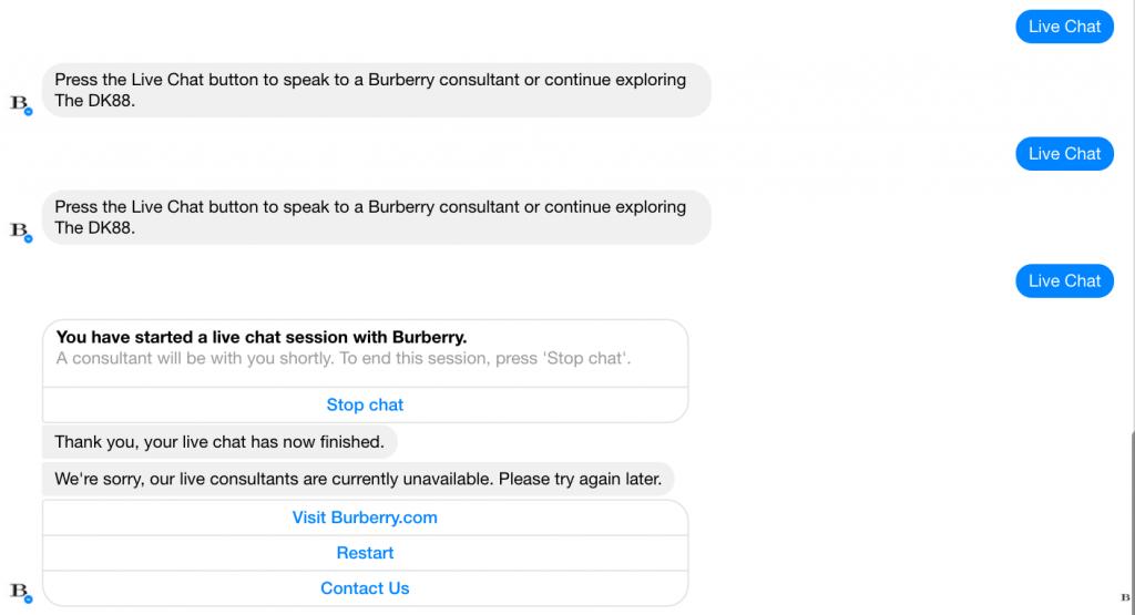 Passaggio da chatbot burberry a live chat fallito