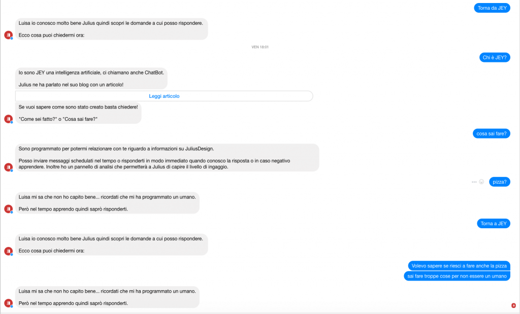 Chatbot JuliusDesign intelligenza artificiale